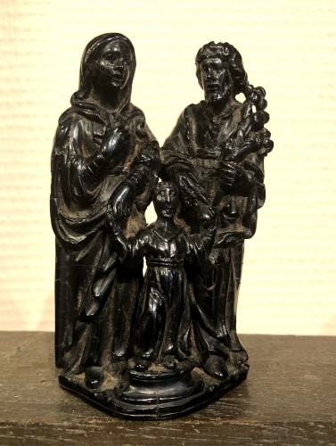 A jet sculpture of the holy family.17th century - Sculpture Style