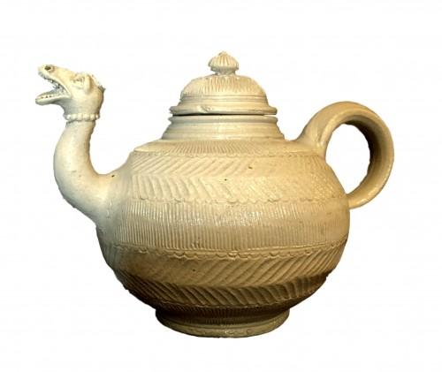 A Westerwald stoneware teapot.Mid-18th century