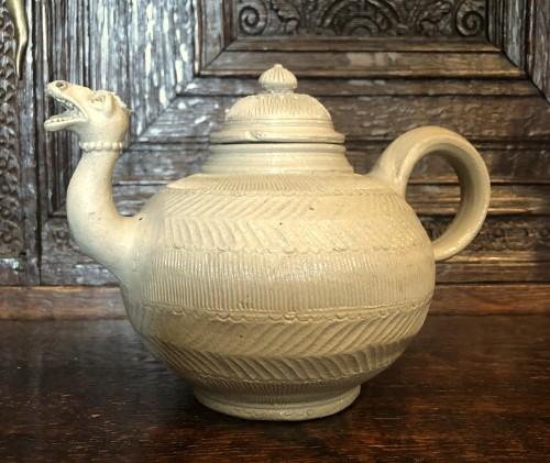 Curiosities  - A Westerwald stoneware teapot.Mid-18th century