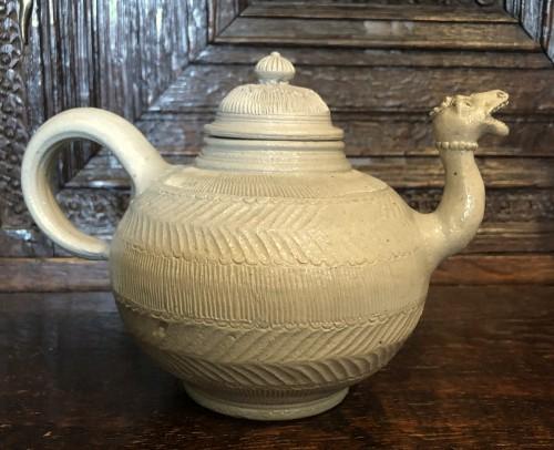 A Westerwald stoneware teapot.Mid-18th century -