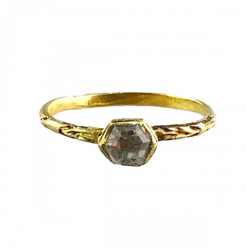 A gold, enamel and rock crystal ring.Ca.1600