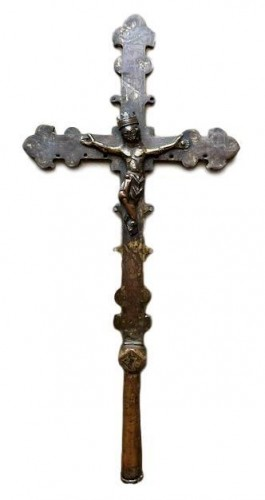 A gilt copper engraved processional cross Circa 1320