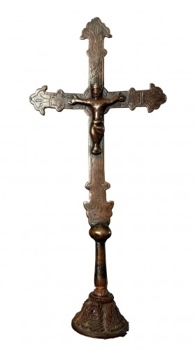 A romanesque miniature copper procession cross.13th century