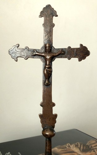 Religious Antiques  - A romanesque miniature copper procession cross.13th century