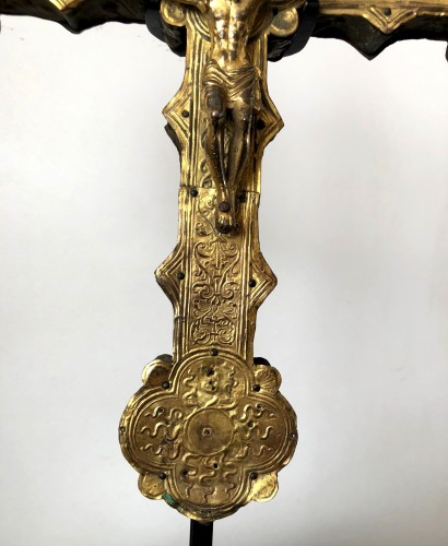 A copper processional cross.Italy Ca.1500-1550 - Religious Antiques Style Renaissance