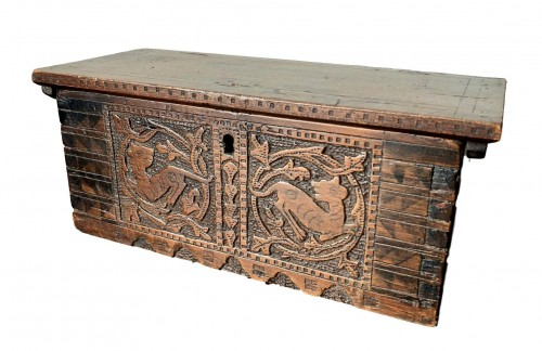 Casket in cedar wood. Northern italy. Late 15th century