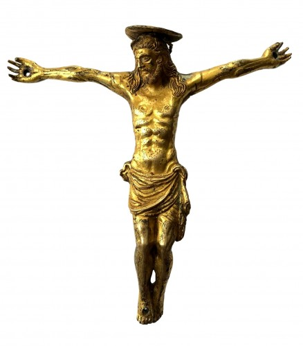 Italian gilt bronze Christ figure, 15th century