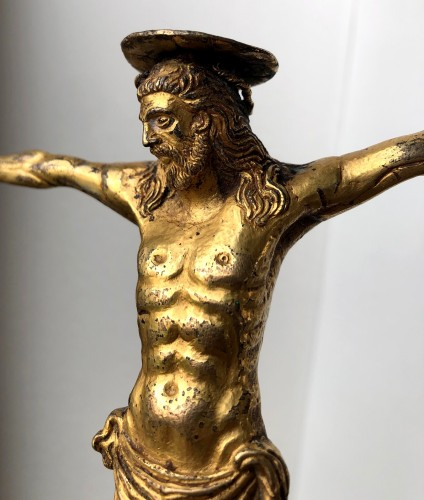 Italian gilt bronze Christ figure, 15th century - Religious Antiques Style
