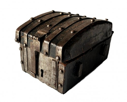 A miniature leather casket Circa 1500