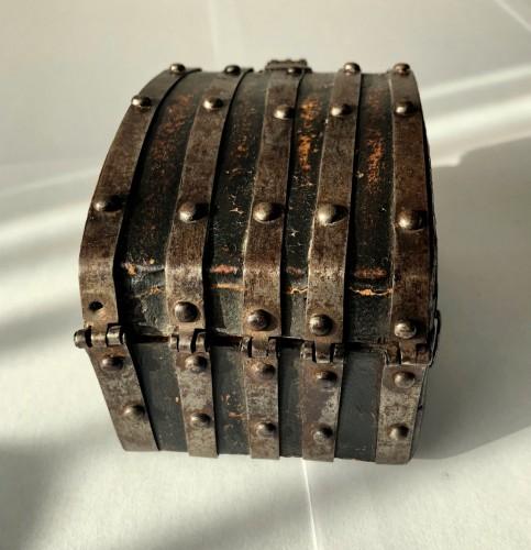 A miniature leather casket Circa 1500 -