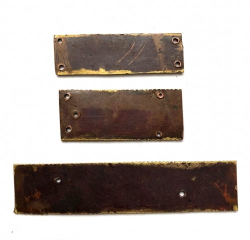 16th century - A set of three gilt copper Vernis Brun plaques, Mosan 12th century