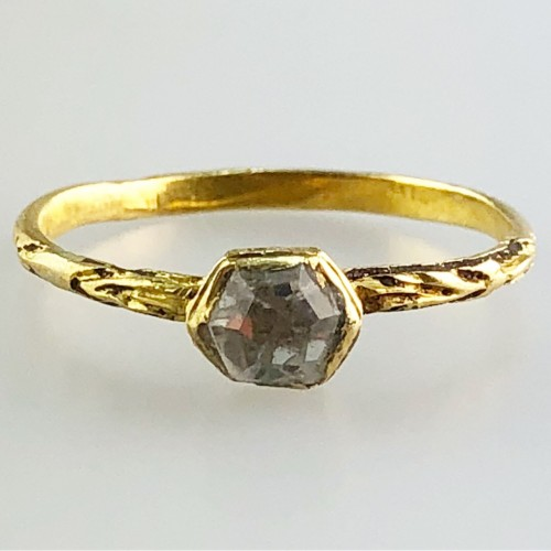 Antique Jewellery  - A gold, enamel and rock crystal ring.Ca 1600