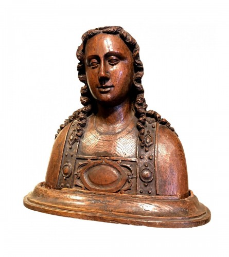 Oak reliquary bust of St-Barbara.France circa 1480