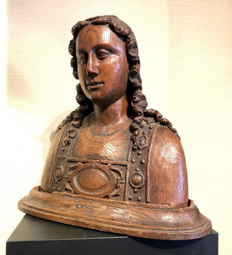 Oak reliquary bust of St-Barbara.France circa 1480 - Sculpture Style Middle age