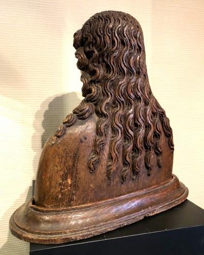 Oak reliquary bust of St-Barbara.France circa 1480 -