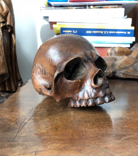 17th century - A walnut memento mori skull.Italy 17th century