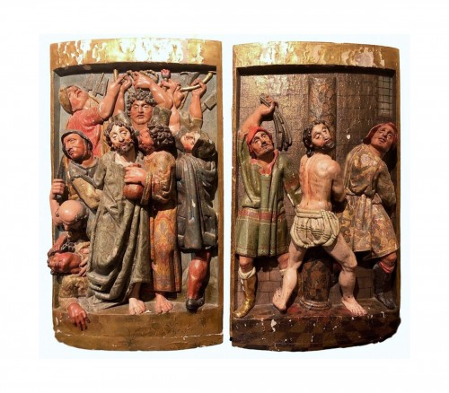 Two polychrome carved Spanish reliefs16th century