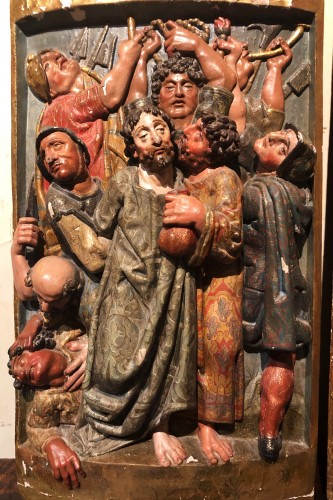 Two polychrome carved Spanish reliefs16th century - Sculpture Style