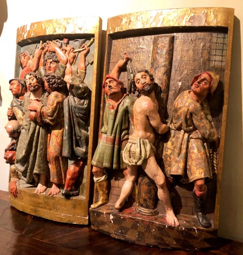 Two polychrome carved Spanish reliefs16th century -