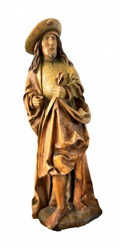 German limewood statue of St-James.Early 16th century.
