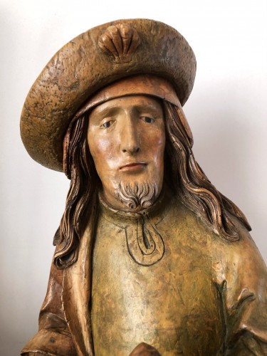 German limewood statue of St-James.Early 16th century. - Sculpture Style Middle age