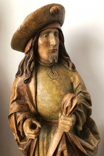 Sculpture  - German limewood statue of St-James.Early 16th century.