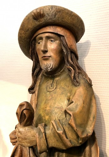 German limewood statue of St-James.Early 16th century. -