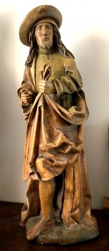 Middle age - German limewood statue of St-James.Early 16th century.