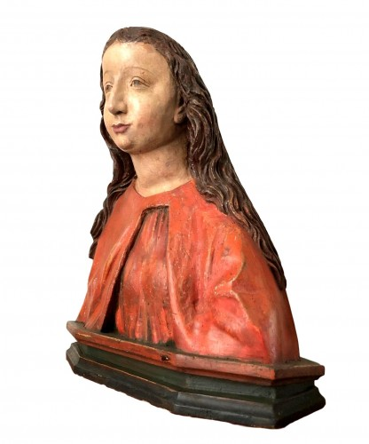 German bust of a female Saint.Early 16th century. - Sculpture Style Middle age