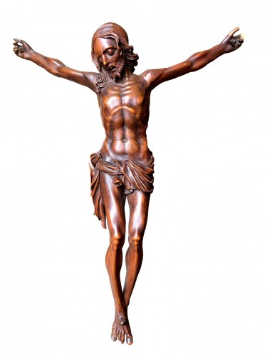 A fruitwood carved Corpus Christi.17th century.