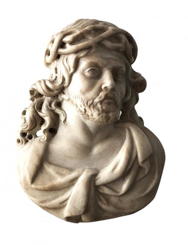 Carrara marble carving of the Crowned Christ, Flemish.17th century