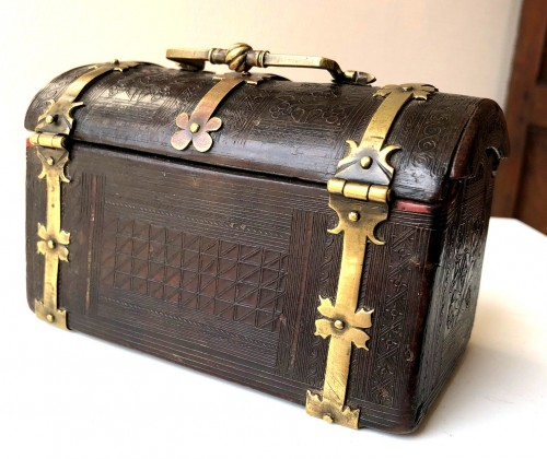 Curiosities  - A small leather casket with copper mounts.France.Circa 1500.