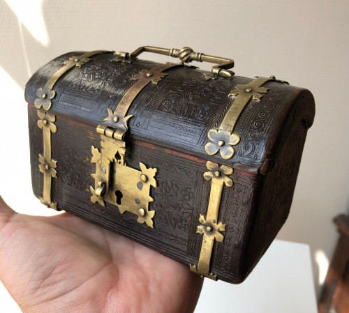 A small leather casket with copper mounts.France.Circa 1500. -