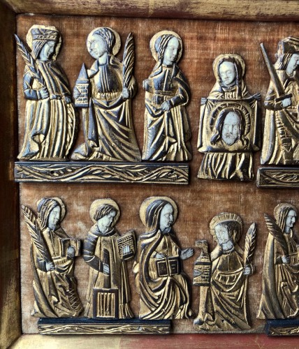 Curiosities  - A collection of small painted bone figures.Flemish.Circa 1450