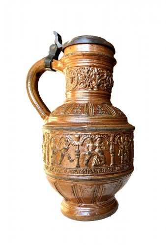 A pewter mounted stoneware jug.Raeren.Dated 1597