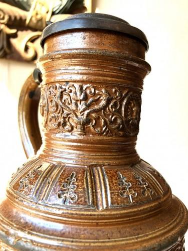 A pewter mounted stoneware jug.Raeren.Dated 1597 - Renaissance