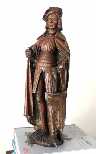 Middle age - An oak statue of St-Victor, Rhenish Circa 1480