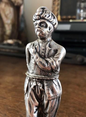 A rare silver 'Turk' etui.18th century -