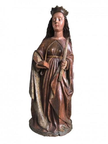 A Swabian sculpture of St-Genevieve.Circa 1480.