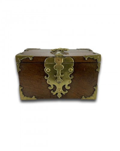 Curiosities  - A wood and brass coffre fort.Late 17th century