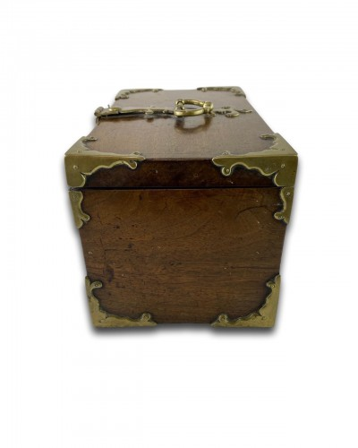 A wood and brass coffre fort.Late 17th century -