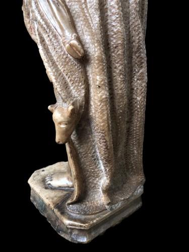 Antiquités - An alabaster sculpture of St-John the Baptist.16th century
