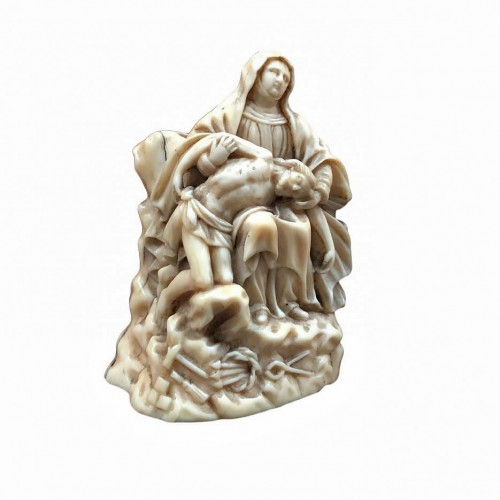 A miniature ivory Pieta.17th century