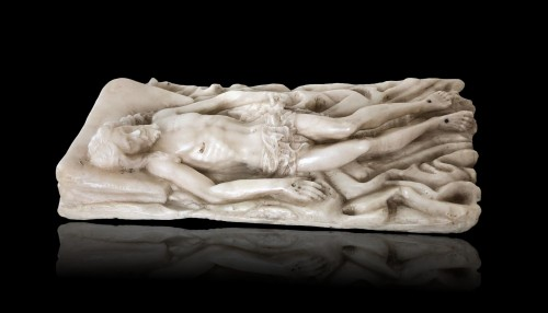 Religious Antiques  - An alabaster carving of the entombed Christ.Circa 1600