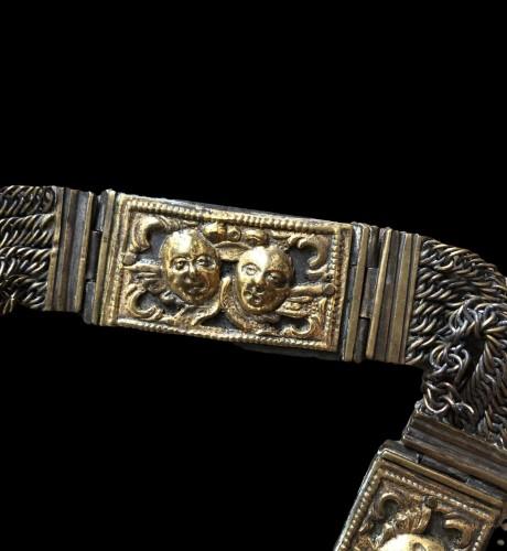 Gilt copper marriage belt.17th century. -