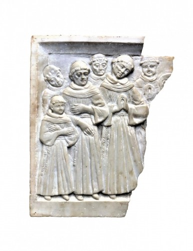 Alabaster relief with praying monks.15th century