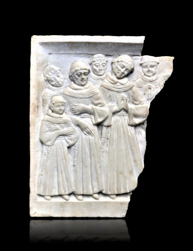 Alabaster relief with praying monks.15th century - Sculpture Style