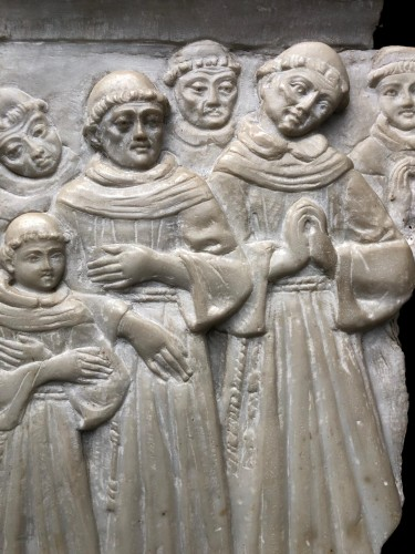 Sculpture  - Alabaster relief with praying monks.15th century