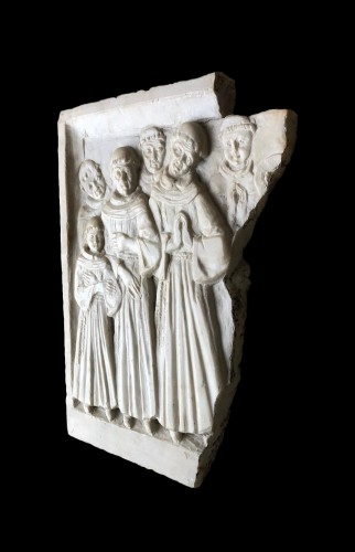 Alabaster relief with praying monks.15th century -