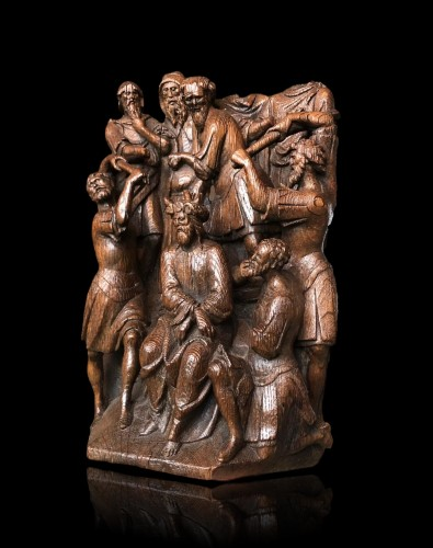 Christ crowned with Thorns oak group.Early 16th century - Sculpture Style